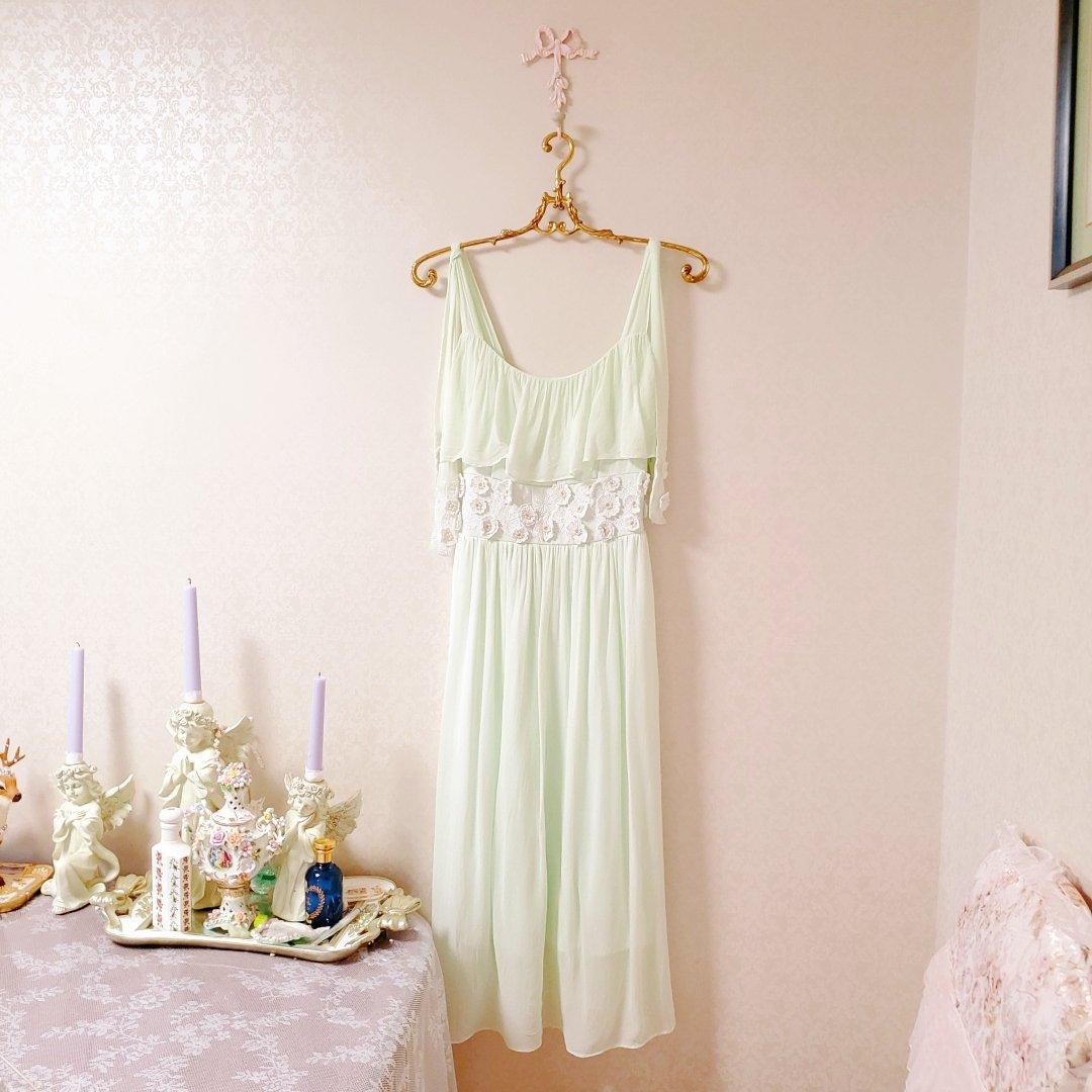 日本snidel立体花古着仙女水绿薄荷vintage刺绣钉珠连衣裙公主