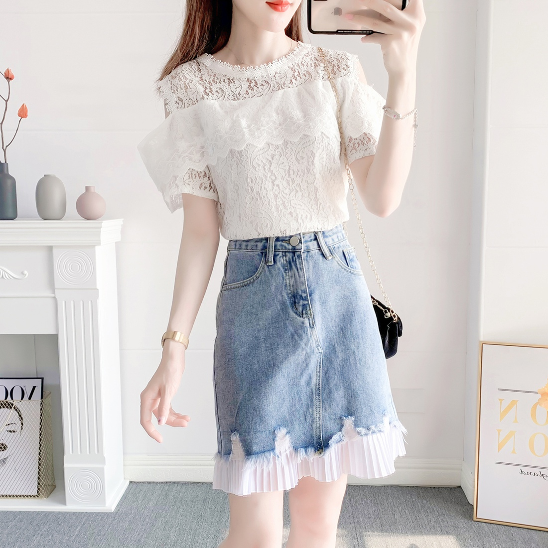 Small fragrance, foreign style, fashionable suit skirt, female summer temperament, lace shirt, cowboy skirt, very cute two-piece set