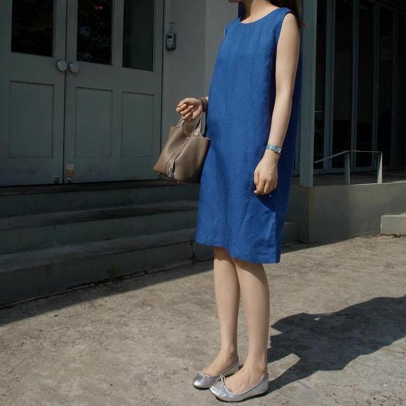 夏亚麻无袖简约通勤连身筒韩国连衣裙2021直瘦l42女装新品代女显