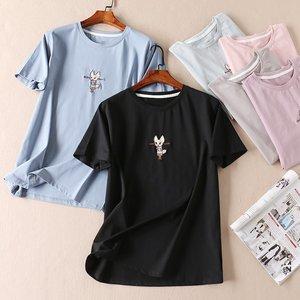 可爱卡通刺绣夏韩版莱卡棉短袖T恤女宽松百搭时尚圆领上衣W