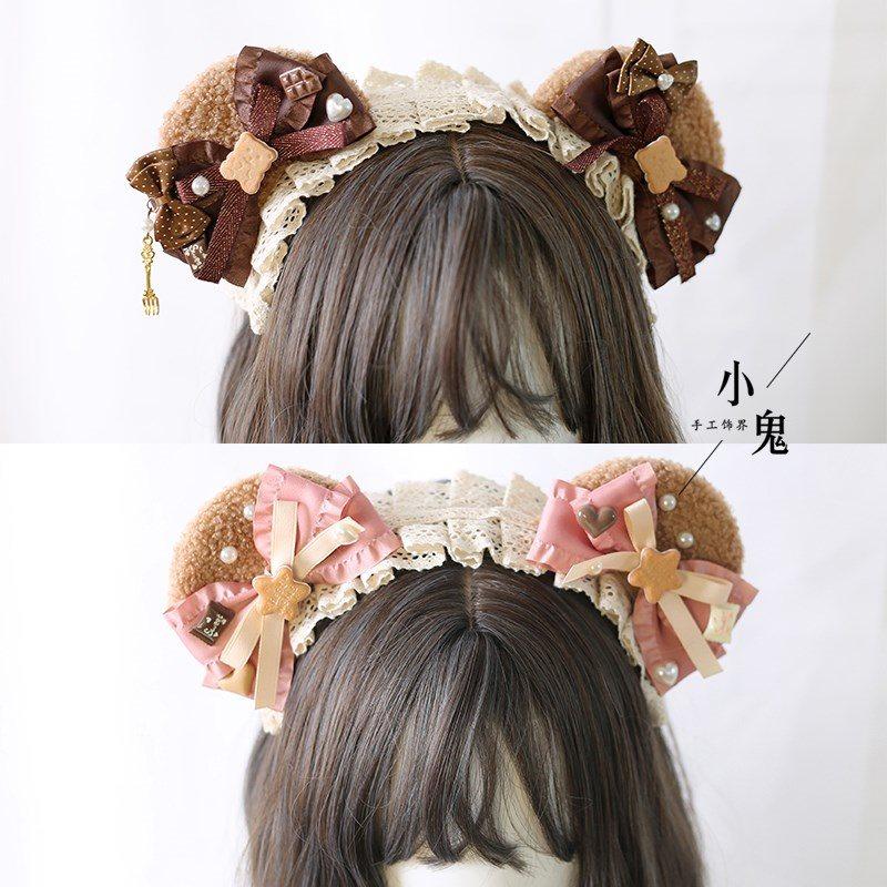 Lolita洛丽塔小熊耳朵发箍头箍可爱发卡女头饰发饰日系手工饰品
