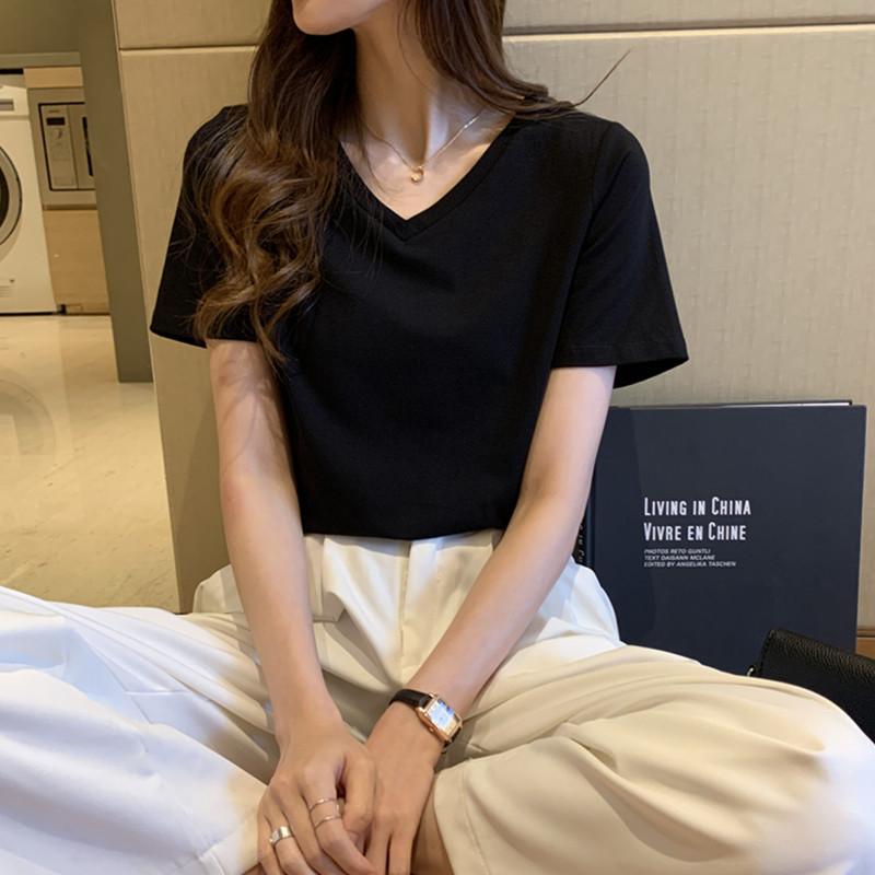 中國代購|中國批發-ibuy99|女裝|纯色黑色t恤女短袖ins夏季新款宽松休闲短款白色女t桖v领上衣女装