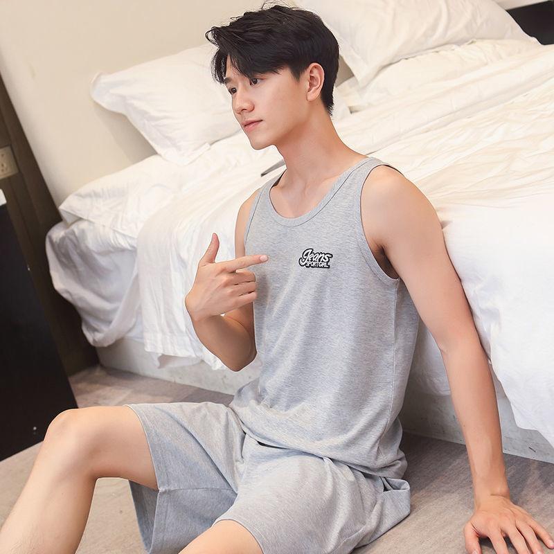 Vest pajamas mens cotton summer X Mens suit super N thin plus size loose sleeveless home a home clothes