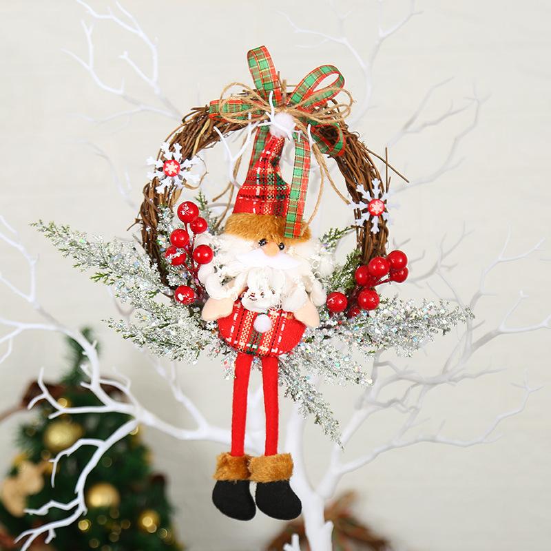 圣诞节花环花圈橱窗布置圣诞节装饰品门挂滕条场地布置道具