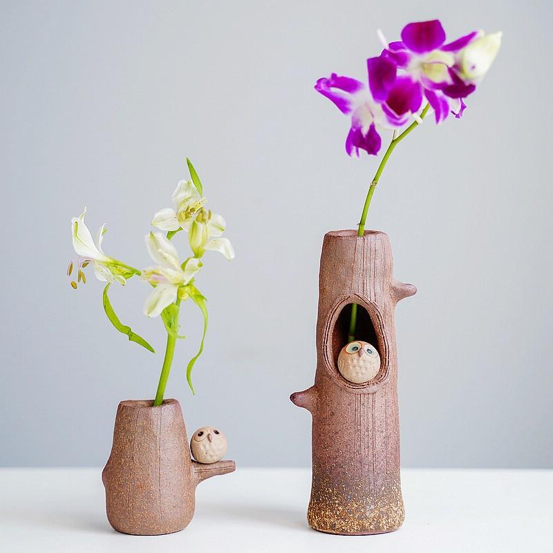 树桩猫头鹰 粗陶花瓶花器 日本进口信楽烧手工作 家居摆件笔筒