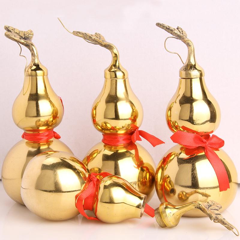 铜葫芦摆件纯铜五帝钱大小号葫芦空心安宅挂件开口盖家居饰品