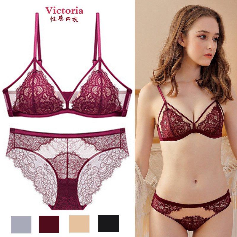 维多利亚蕾丝法式无钢圈三角杯文胸套装的秘密性感内衣女薄款无痕