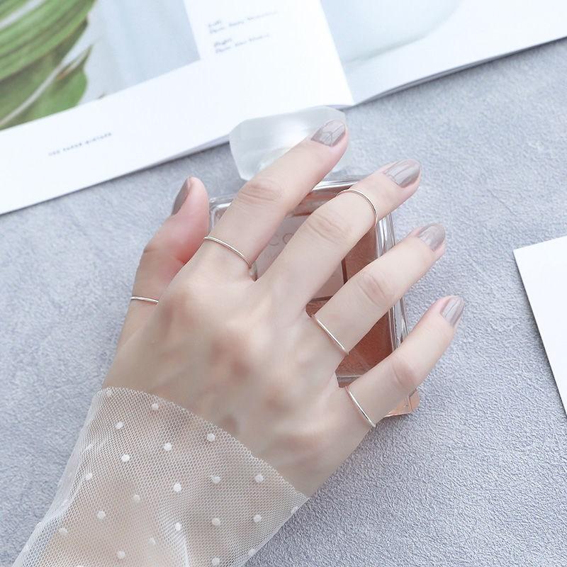s925纯银素圈关节戒指女时尚个性超细尾戒极简约小指环食指冷淡风