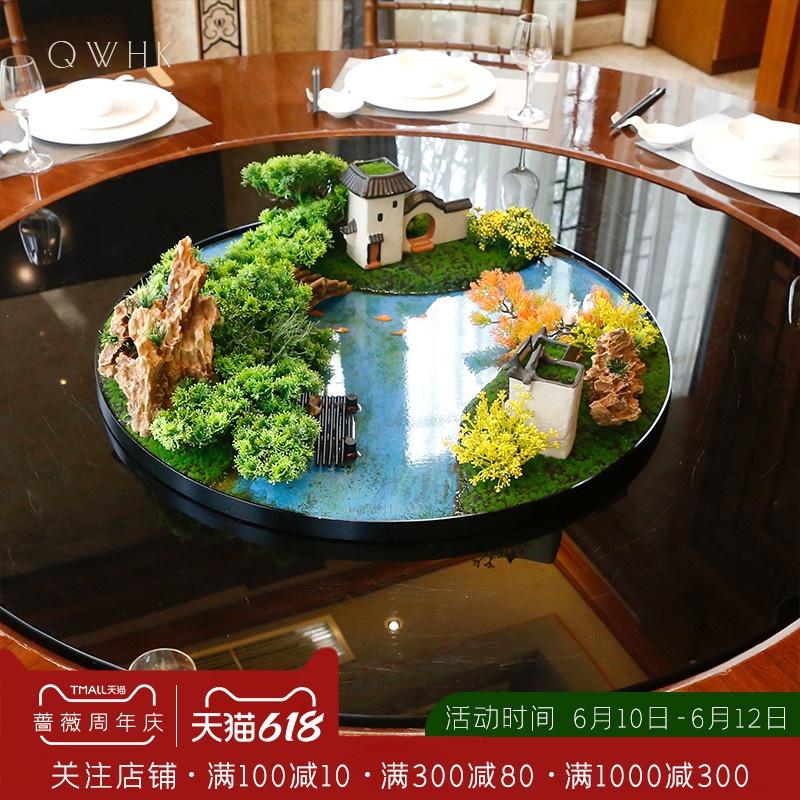 中国式の食卓の花が円卓を飾って、回転盤の人工的な造景を飾って、デスクトップの微景観の山水装飾を飾って花芸をなぞらえ似せます。