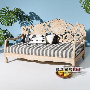 法式美式实木沙发复古做旧沙发床手工雕刻莲花公主布艺沙发可定制