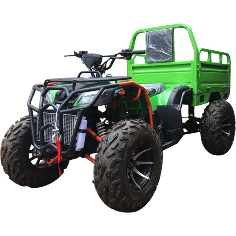 四驱带斗沙滩车四轮越野摩托车大公牛汽油农用车拉货带货箱农夫车