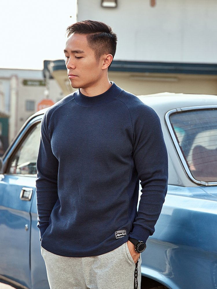 Small high neck rib long sleeve mens spring American retro leisure sports waffle Pullover