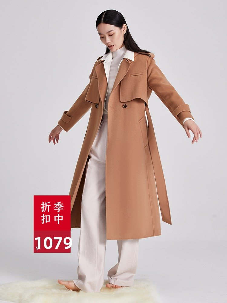 Extra fine cashmere blended Australian wool detachable double side cashmere coat thickened