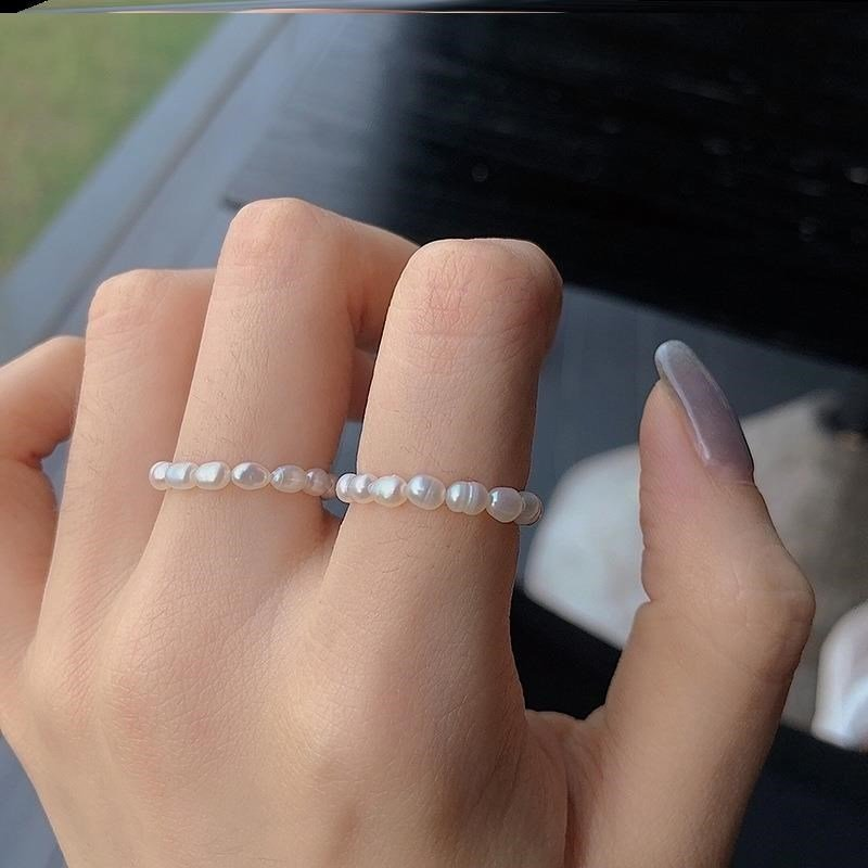 Beaded ring small pearl female monotonous lovely Trinket small pearl tail ring ring womens ring fashion band elastic