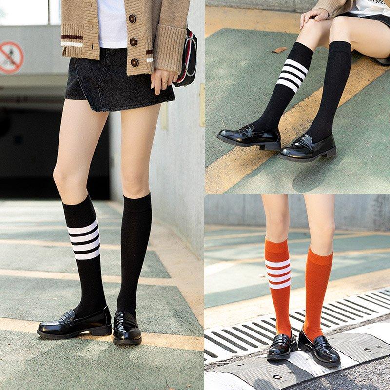 小腿袜黑色白色长筒堆堆袜子女jk中筒过膝秋冬半高筒ins网红潮袜