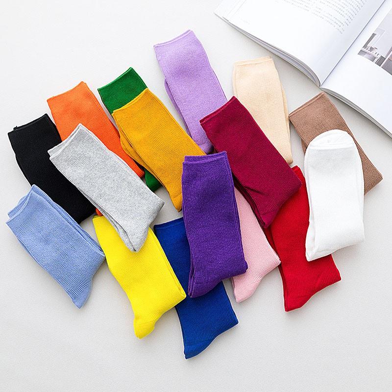 袜子女薄款堆堆袜中筒棉夏季韩版学院风日系韩国百搭紫色潮长袜