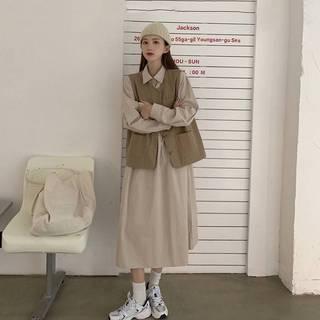 大码女装2021年秋季新款胖妹妹显瘦套装减龄胖mm马甲连衣裙两件套