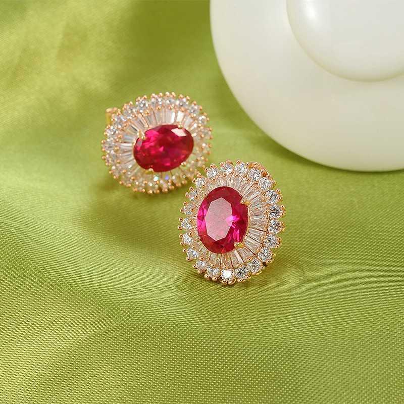 925 temperament Korean Earrings zircon womens anti version Ruby Crystal Silver Needle allergy earrings earrings earrings round bride green