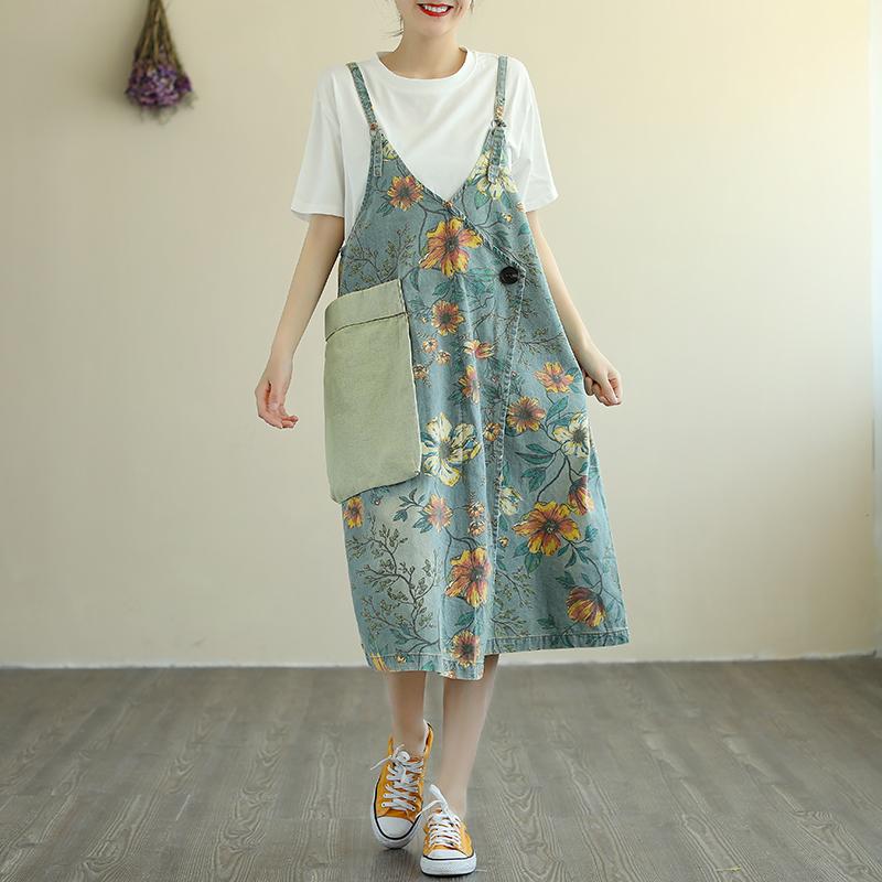 Flower concept retro literary print denim suspender skirt womens loose large pocket ins trendy suspender dress