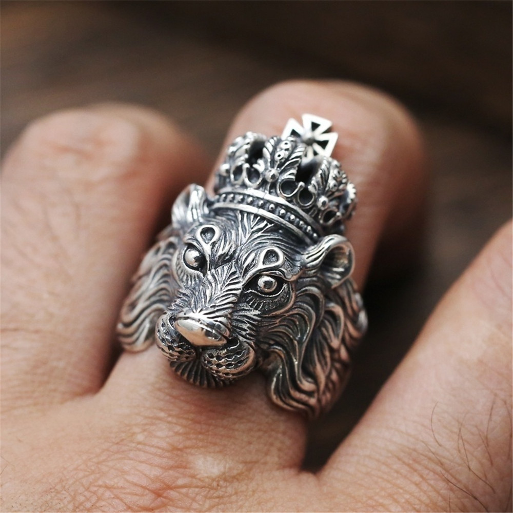 Lion Ring male domineering metal personality crown European and American hip hop Street womens neutral fashion rough rock trend