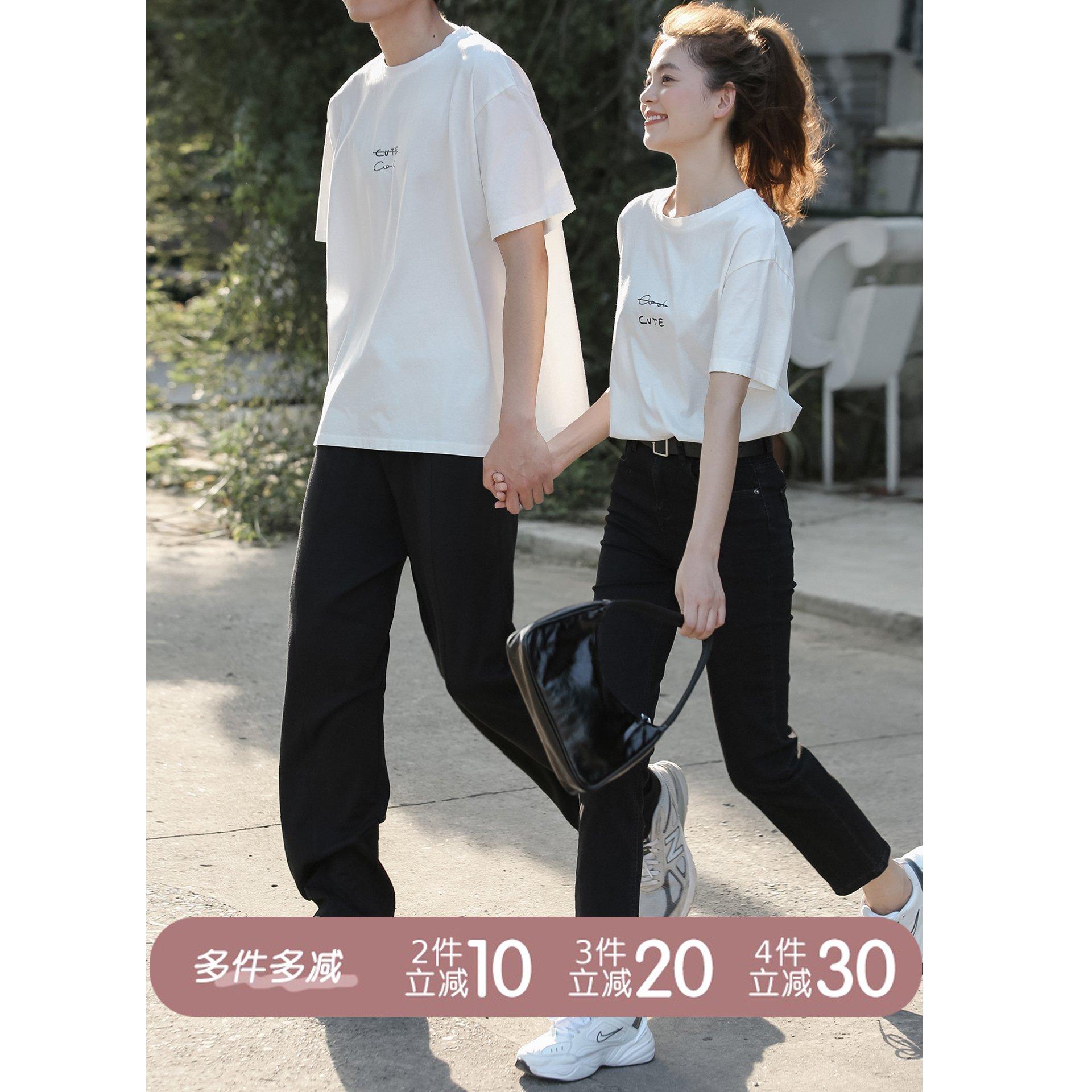 【多件多减】恋爱循环/金哥手绘短袖t恤女白色上衣情侣装夏