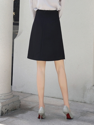 Slim skirt womens spring and summer button knee A-shaped tooling high waist black suit formal dress medium and long career group