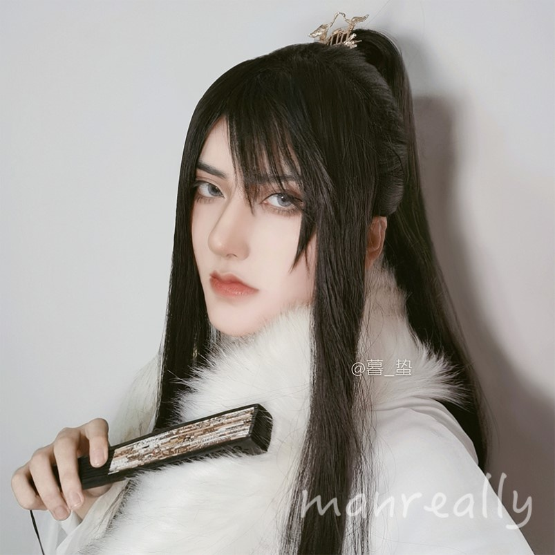 Wig male long hair ancient wind fairy man realistic role play handsome natural s hair full head set Japanese style