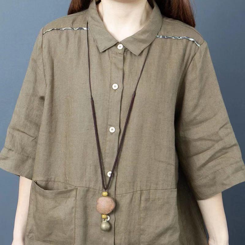 Cotton and linen shirt skirt summer 2021 new large womens dress loose solid color ramie medium long foreign style linen dress