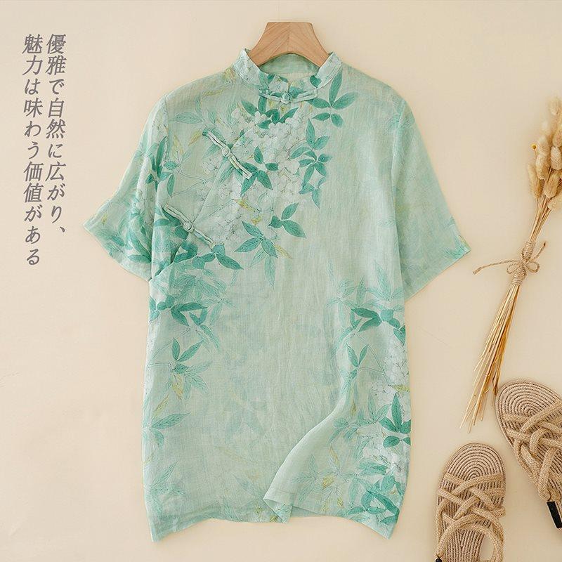 中式斜襟亚麻短袖衬衫女宽松禅意盘扣上衣夏季文艺印花棉麻料衬衣