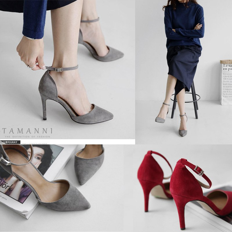 2020 summer new sandals womens work one line with Baotou thin heel pointed fashion suede hollow high heels