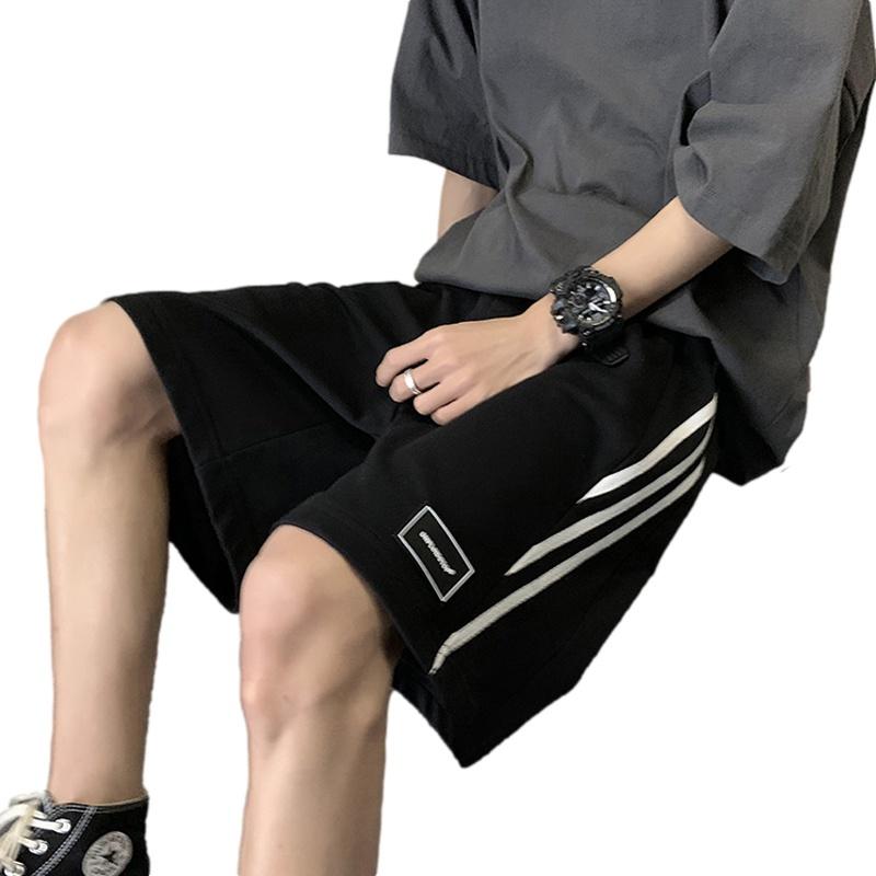 Casual shorts mens summer thin loose straight pants 2021 new port stripe wide leg Capris