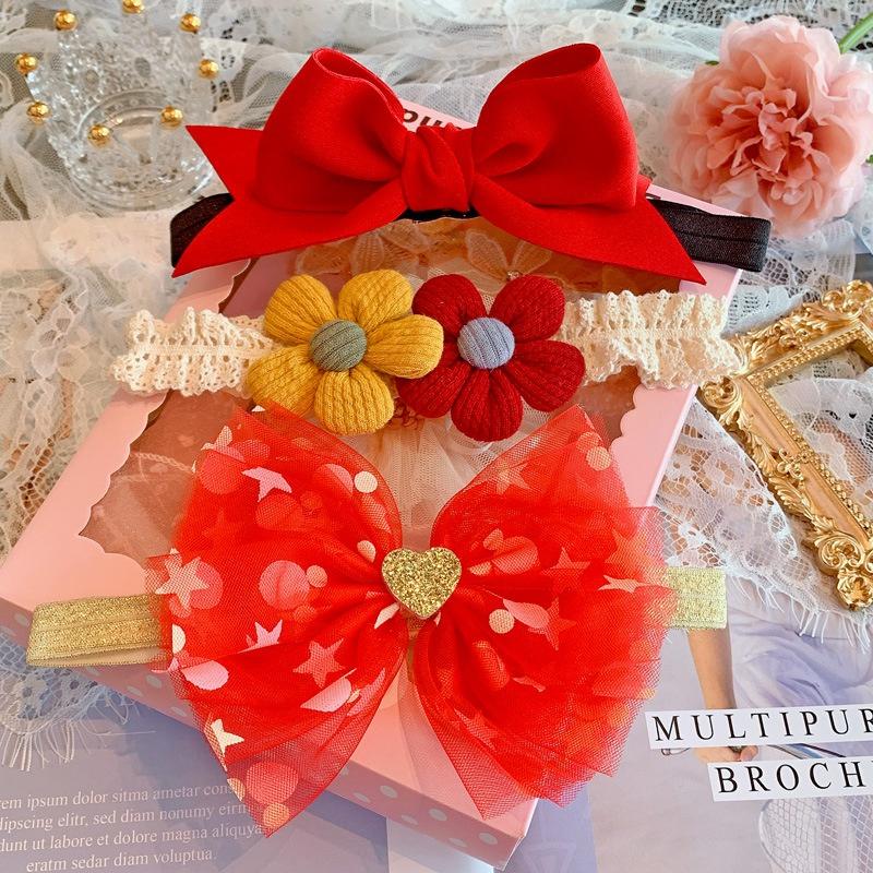Baby newborn baby gift box Princess full moon one hundred day gift infant and child hair belt socks set