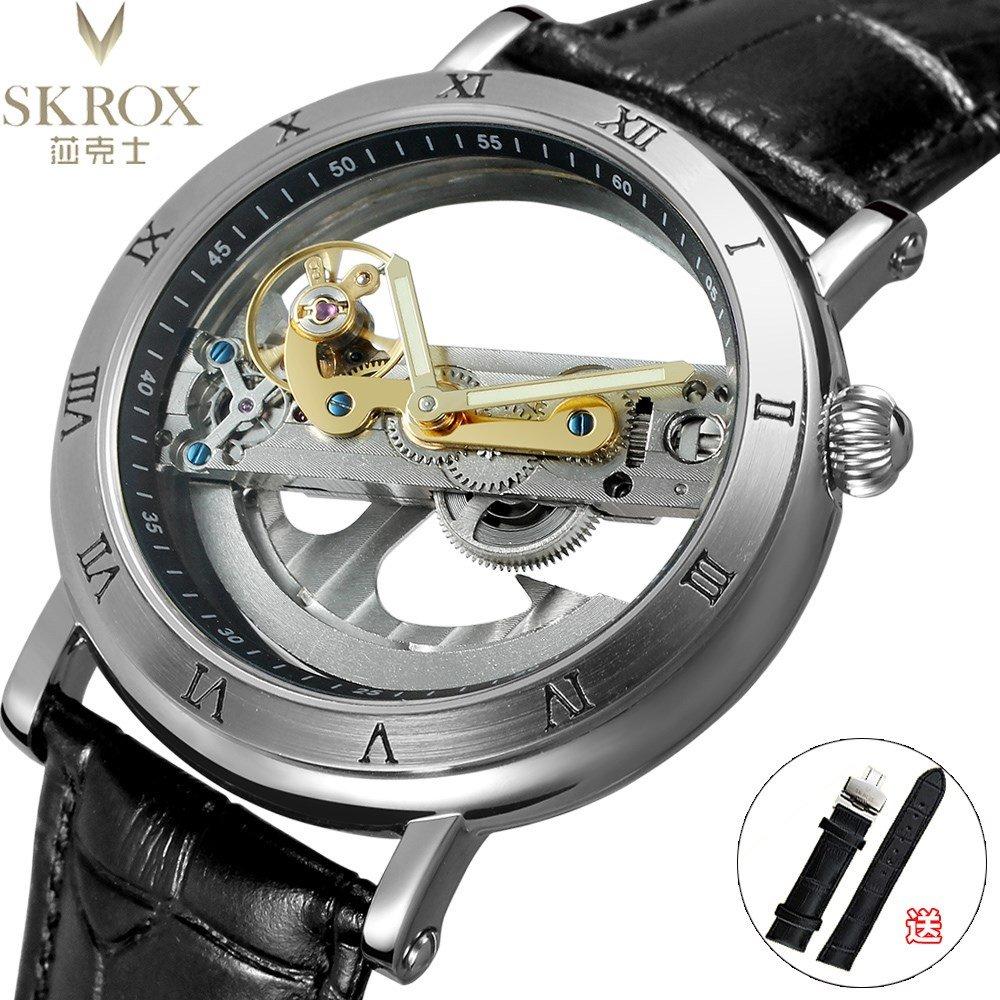 skrox陀飞轮双面镂空个性潮男士全自动机械表真皮带防水网红手表
