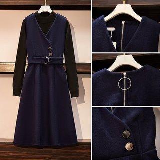 大码女装2021年秋季新款胖妹妹显瘦气质毛衣套装裙减龄洋气两件套