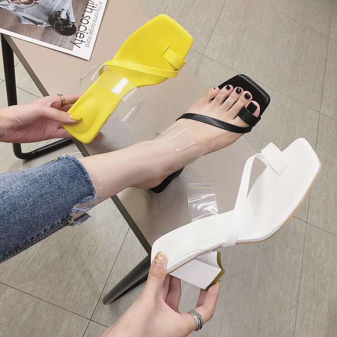网红方头露趾凉鞋女夏2020新款透明夹趾高跟凉鞋一字带粗跟凉拖鞋