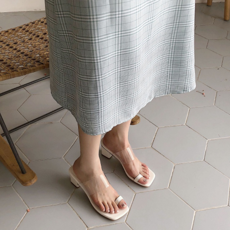 Square head with transparent clip toe high-heeled sandals womens summer middle thick heel cover feet exposed toes, wearing half slippers womens simple