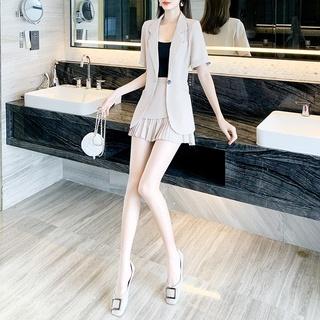 2020夏季女装新款时尚韩版休闲小西装短袖裙套装气质连衣裙两件套