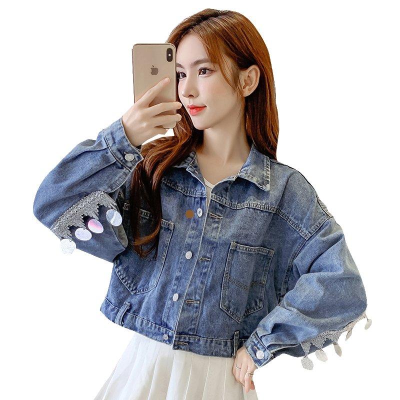 Denim Jacket Womens long sleeve autumn clothes 2020 new ins fashion net red Sequin bat sleeve jacket short jacket