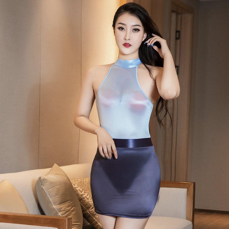 性感女士夏季紧身透明超薄高叉连体衣包臀短裙高领性感连身衣