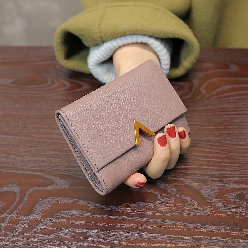 潮2021新款欧美短款真皮小钱包女士简约头层牛皮三折卡位皮夹钱夹