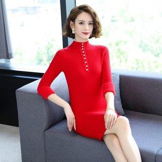 加绒加厚毛衣2020年新款女装大码遮肚子显瘦打底针织衫裙子秋冬季