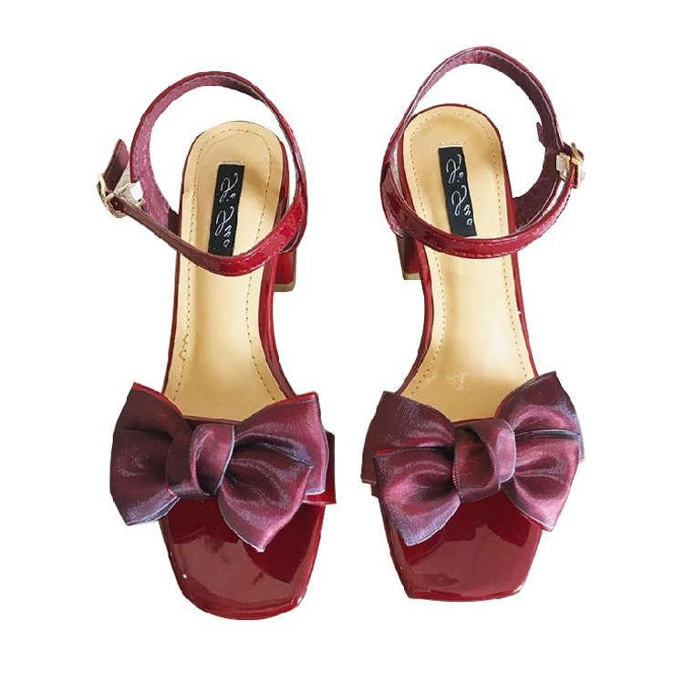 Summer 2018 new high-heeled sandals silk bow thick heeled sandals fashion open toe one button womens shoes wedding shoes red