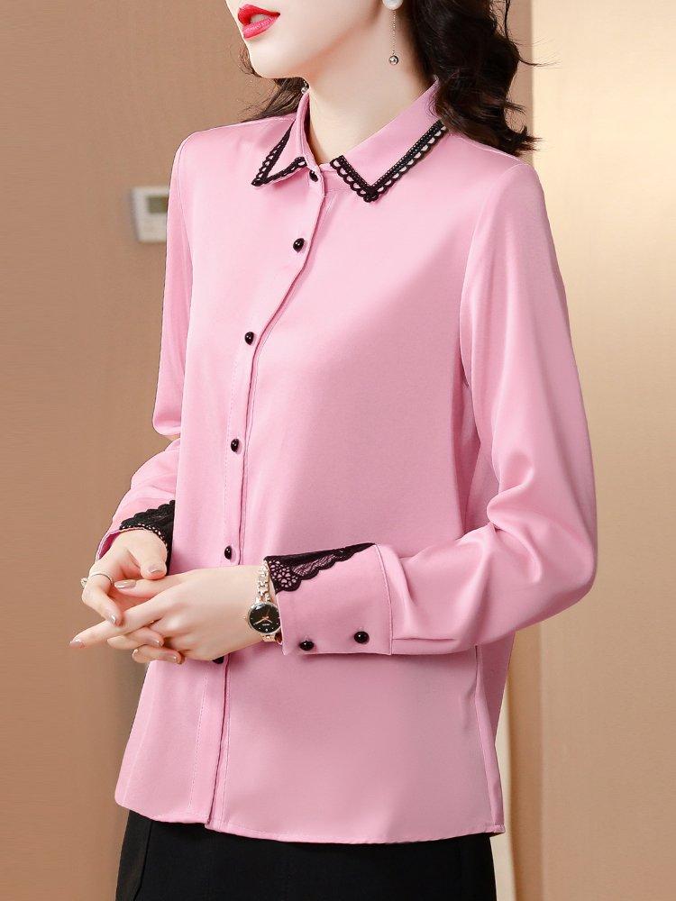 衬衫女设计感小众轻熟复古新款2021年蕾丝拼接绸缎长袖仿真丝衬衣