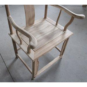 茬太师椅木椅官帽胚老明中式靠背椅椅茶榆木椅白子坯实白式餐椅白