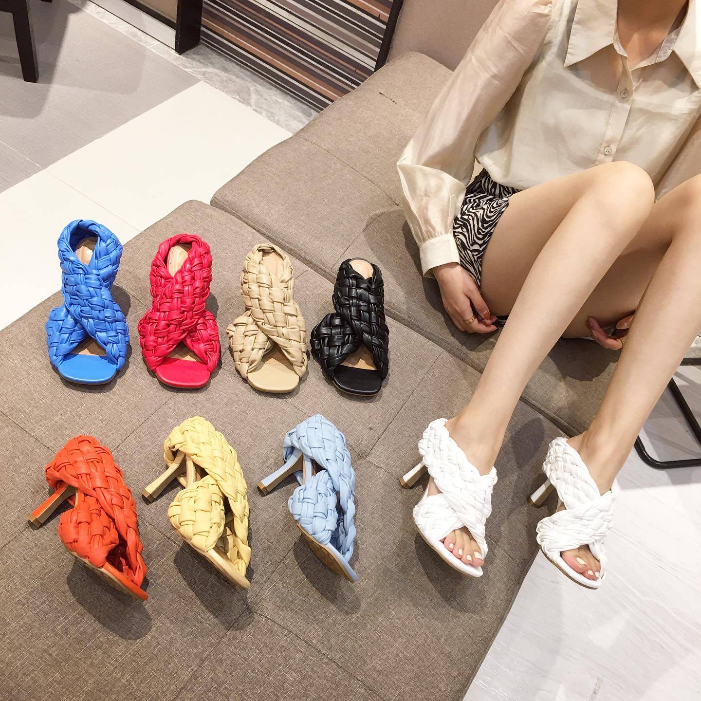 2021 new cross woven sandals womens open toe fish mouth high heels European and American fashion trend sandals in summer