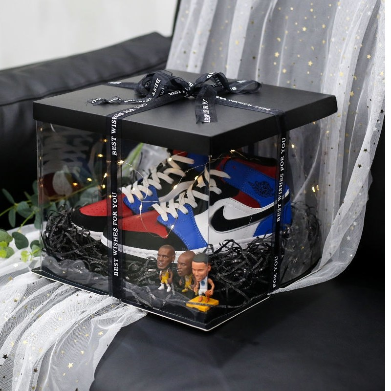 Birthday boxed gift box net gift basket packaging sneakers ins high heels creative red gift box AJ
