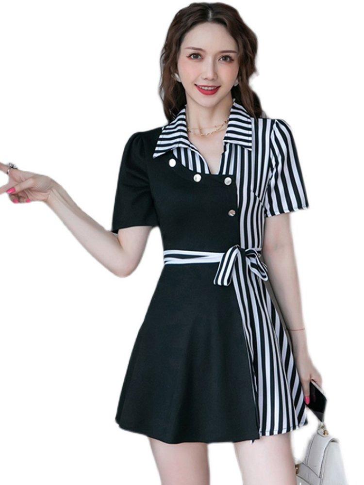 Fried street fashion Wide Leg Pants Set two-piece summer womens wear 2021 new striped stitched polo dress