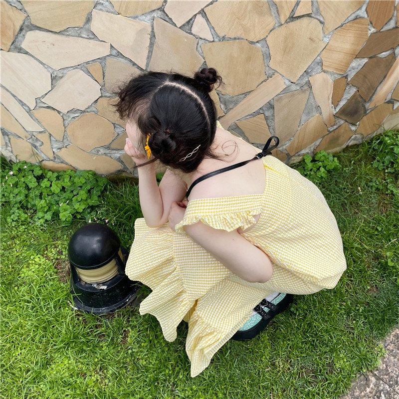 Seoul playful and lovely ~ Korean retro girl sweet white yellow grid large pocket suspender vest dress