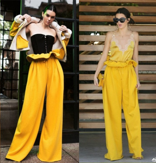 Kendou same yellow silk suspender with paper bag pants High Waist Wide Leg Pants fashion suit womens casual pants womens loose