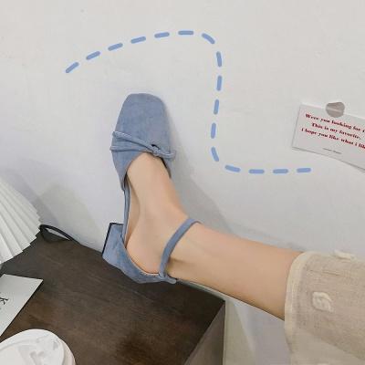 Korean version versatile square suede shallow mouth shoes thick heel retro sandals fairy style single shoes fashion